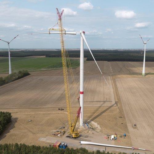 Bauarbeiten im UKA-Windpark Hartmannsdorf (Quelle: UKA)