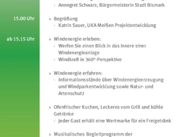 Programm zum Windparkfest in Garlipp