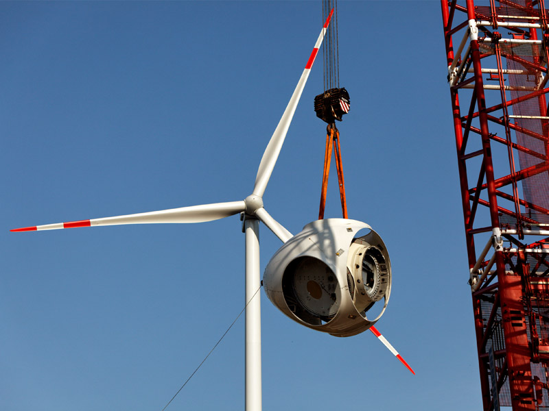 Construction of a wind power plant.